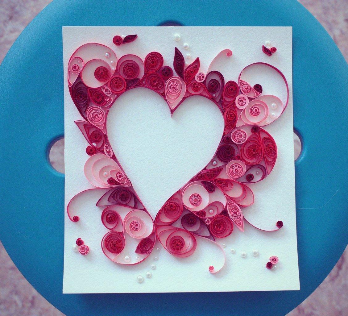 Как сделать открытку из сердец, открытки новым годом
