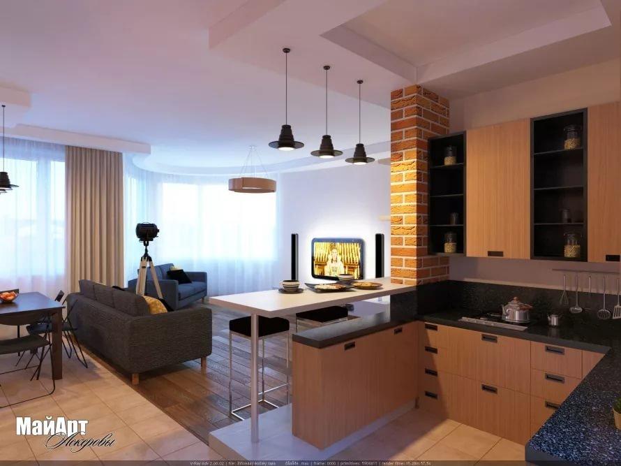 Дизайн интерьер гостиной с барной стойкой фото