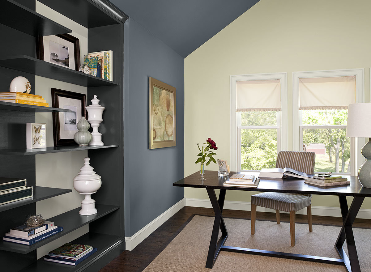 Blue Home Office Ideas Boldly Accented Paint Color Schemes An Accent Wall