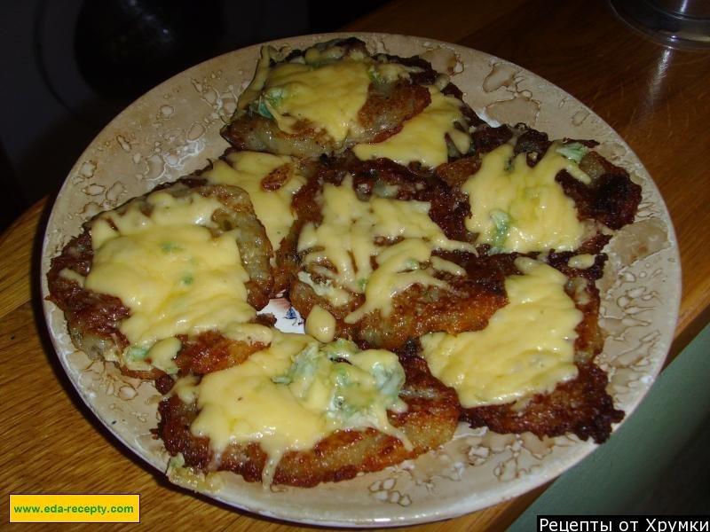 Драники из картошки с колбасой и сыром