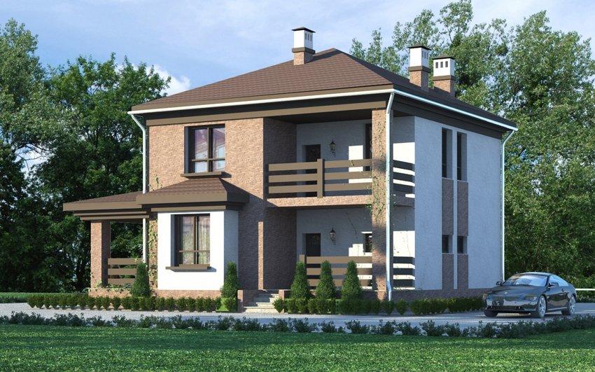 Двухэтажный дом с балконом и террасой, проект 154/158.