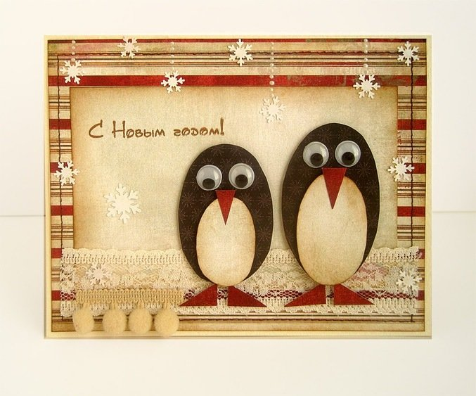 Открытки, живая открытка своими руками с тремя пингвины