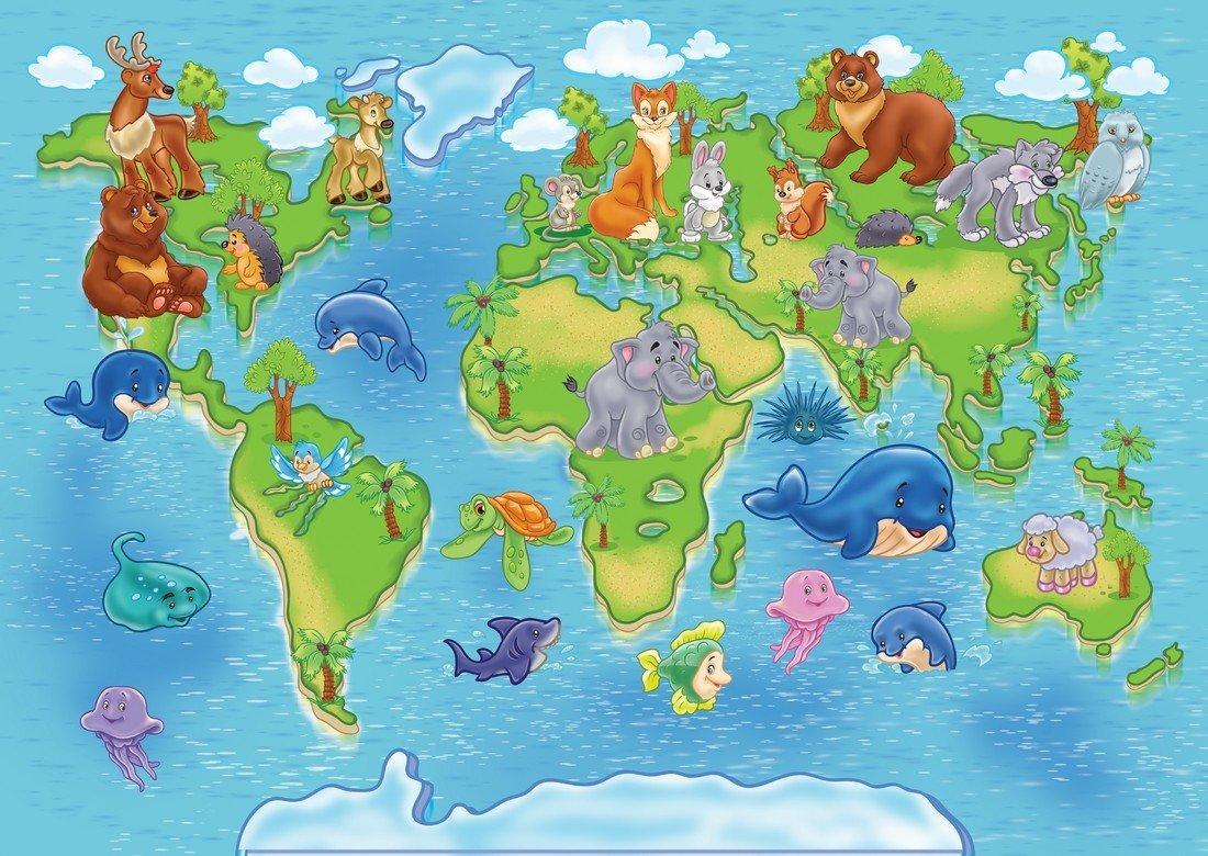 карта мира с картинками животных химер эти