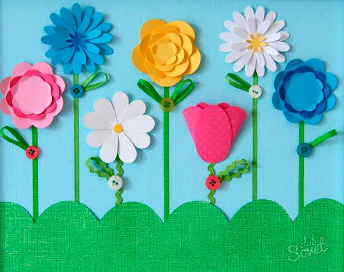 Как делать цветы из цветной бумаги для открытки