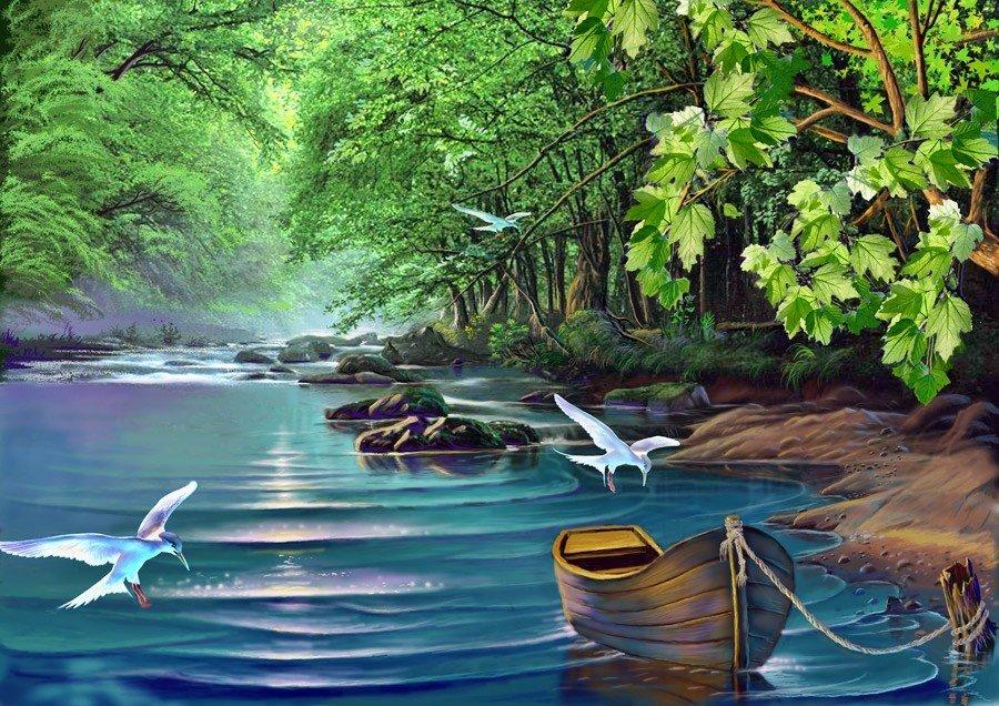 Тремя месяцами, картинка реки для детей анимация