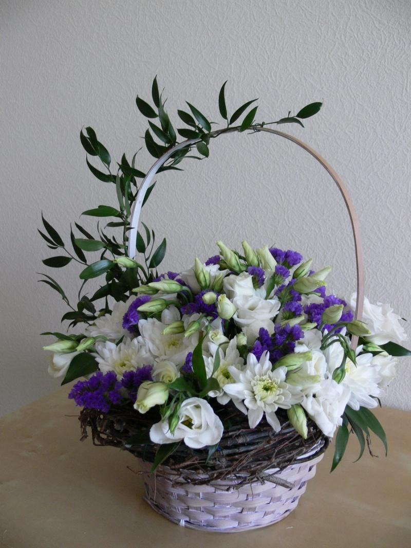 Как своими руками композицию цветы в корзине 207