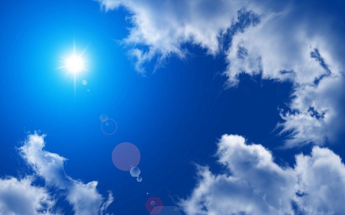 Открытка небо и солнце, днем рождения