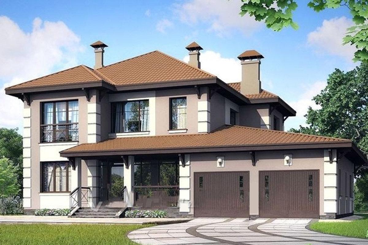 двухэтажные дома проекты с отдельным гаражом Республика Татарстан