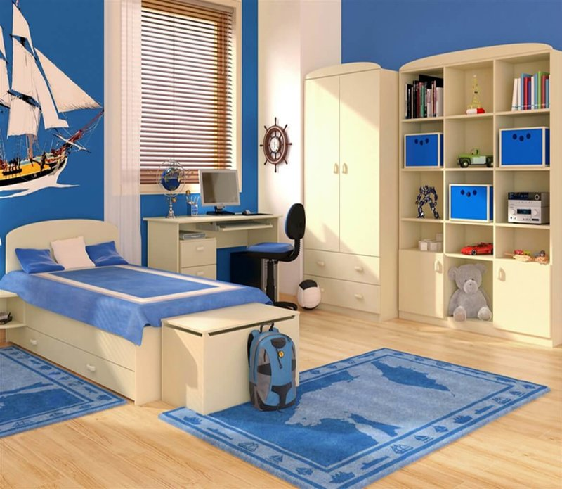 Детская комната с рабочим место по морским волнам