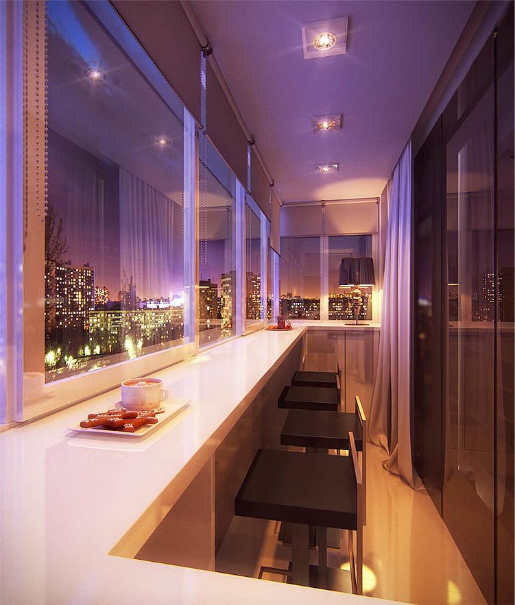 Барная стойка на балконе совмещенном с кухней в качестве обе.