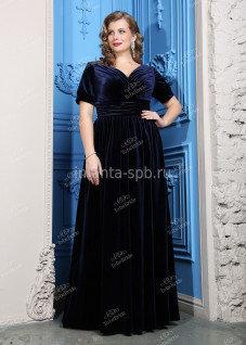 20dfe36fa67f046 ... Синее вечернее платье большого размера для полных из бархата
