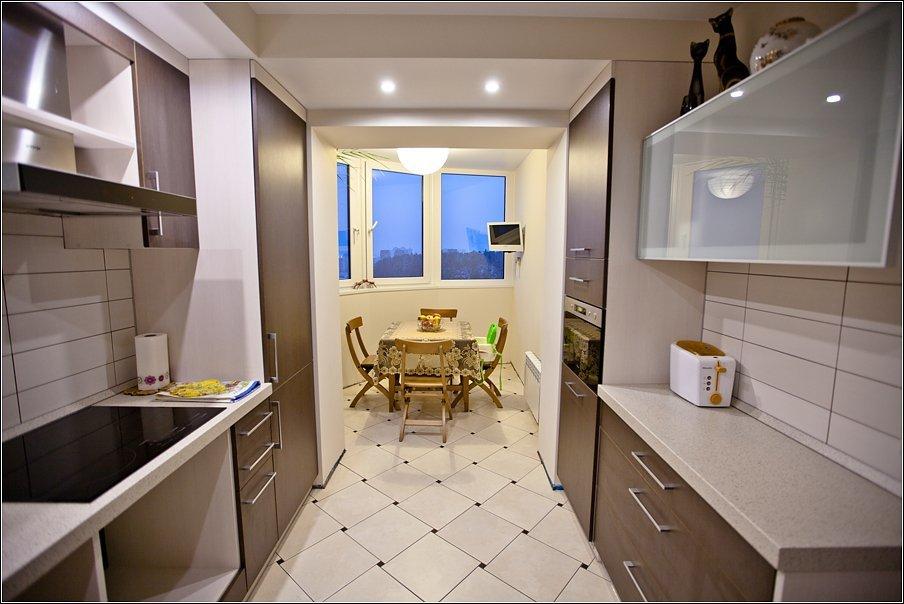 """Дизайн параллельной кухни совмещенной с балконом """" - карточк."""