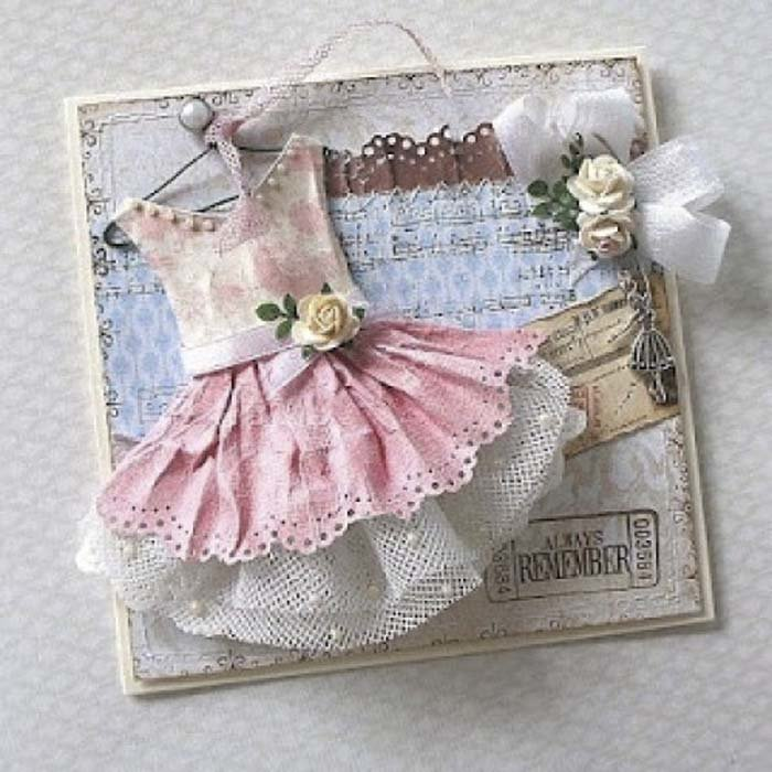 Открытка на день рождения девочке своими руками с платьем