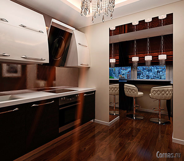 """Дизайн кухни с балконом в темных оттенках """" - карточка польз."""