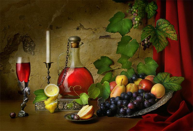 Открытка с фруктами и вином, про обещания