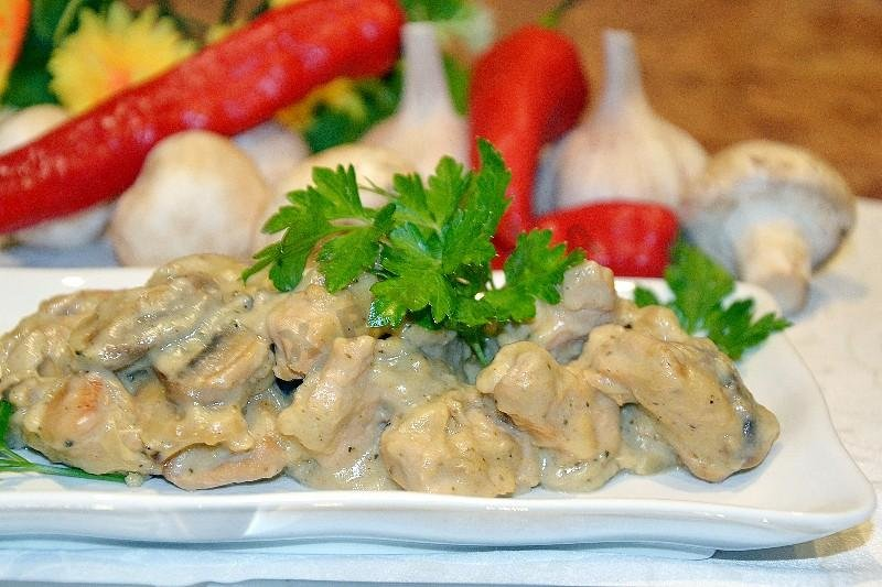 индейка с грибами в сливочном соусе рецепт с фото