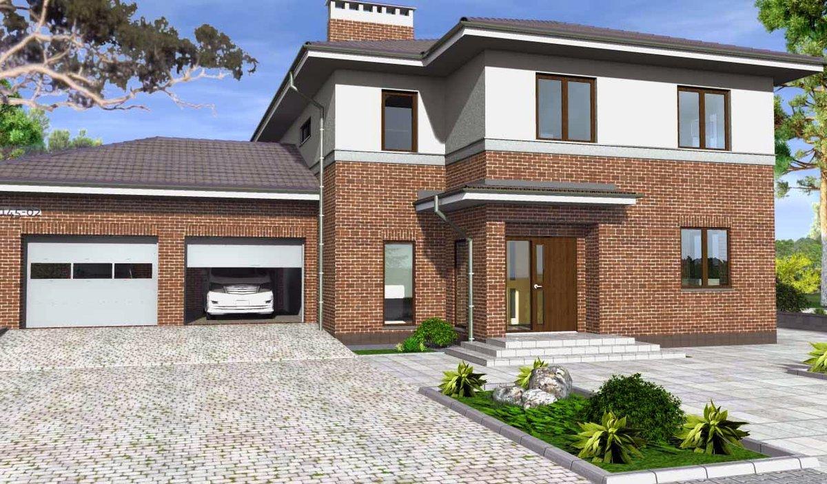 смотреть двухэтажные дома фото с гаражом