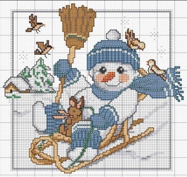 Схема вышивки снеговик на санках.