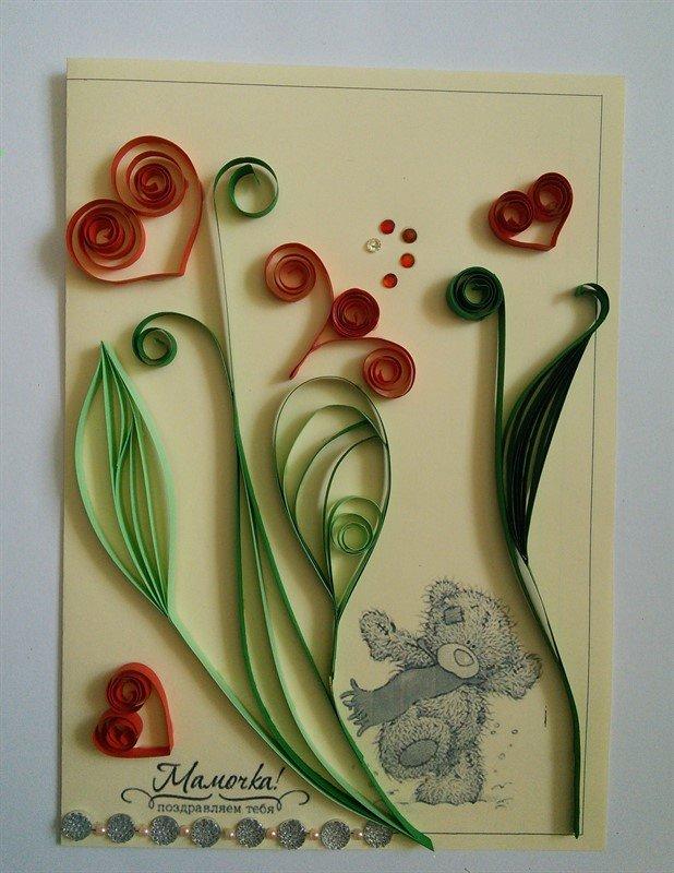 Для вышивки, открытки из квиллинга для мамы