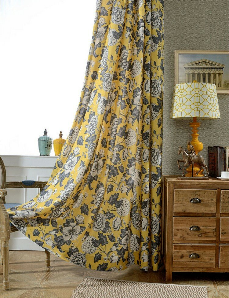 Шикарные цветочные желтые шторы