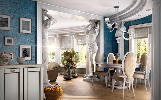 Греческий стиль Самый аскетический из стилей. Его характеризует отсутствие роскоши, минимальная загруженность помещения и простота отделки. Доминирующий цвет — белый.