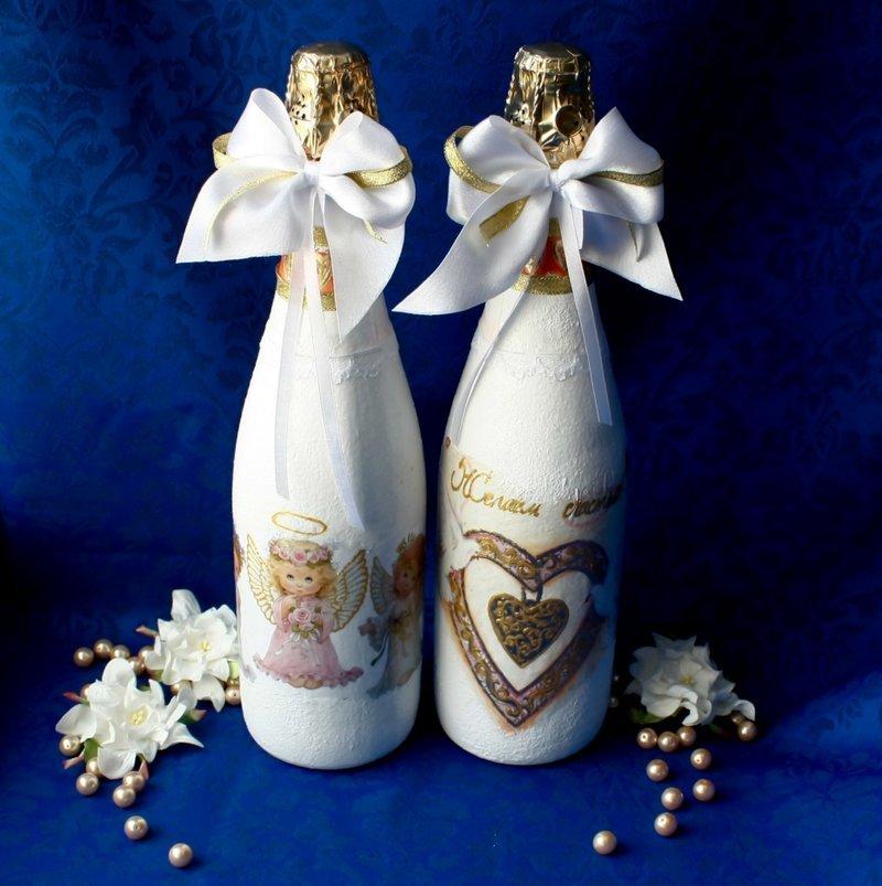 картинки украсить бутылку шампанского на свадьбу светлом