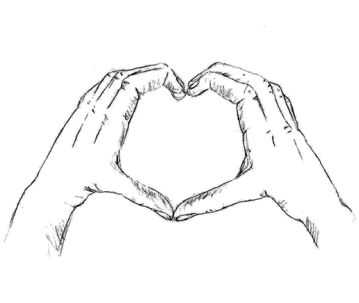 Картинки сердца из рук для срисовки