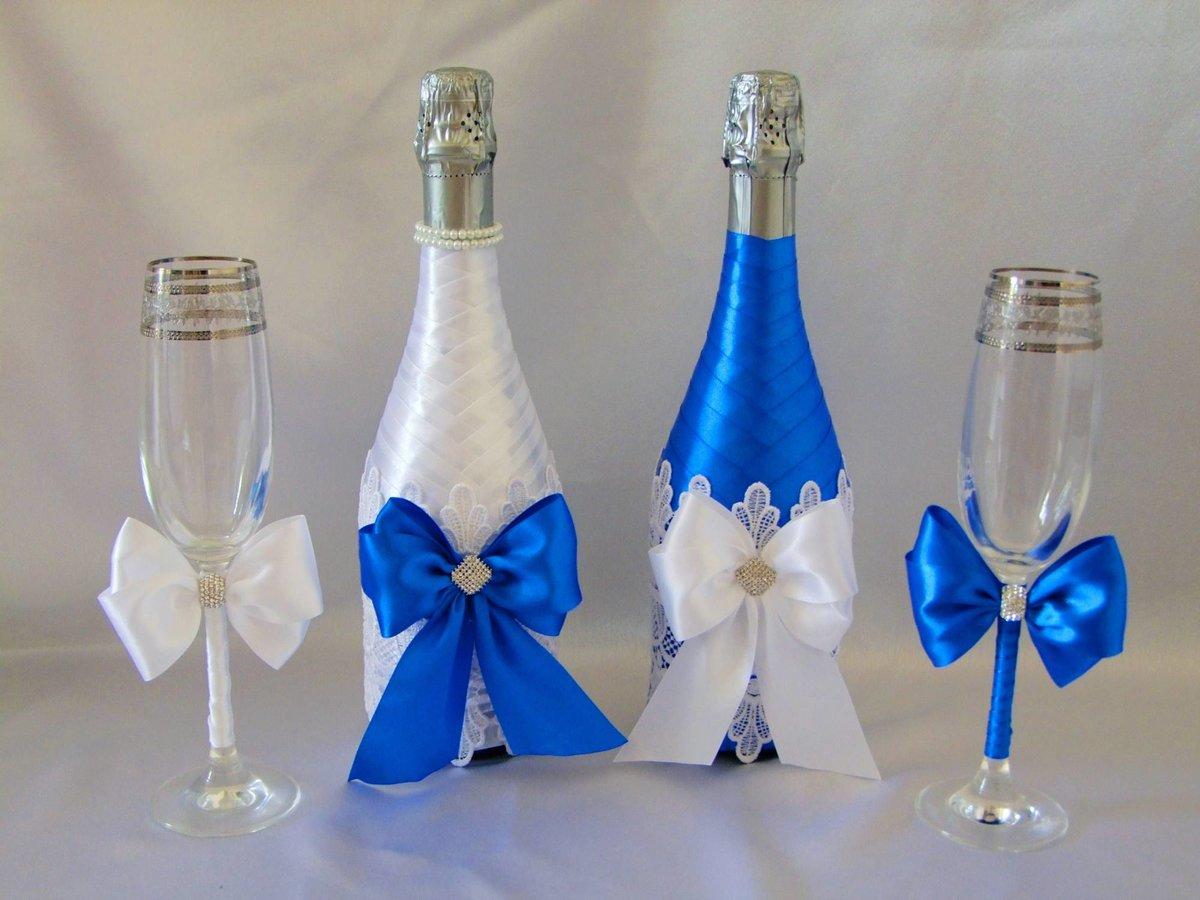 украшение свадебных бокалов и бутылок фото вторая набережная