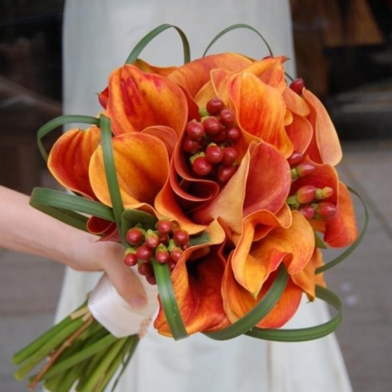 Букет невесты оранжевые каллы, букетами цветов букет