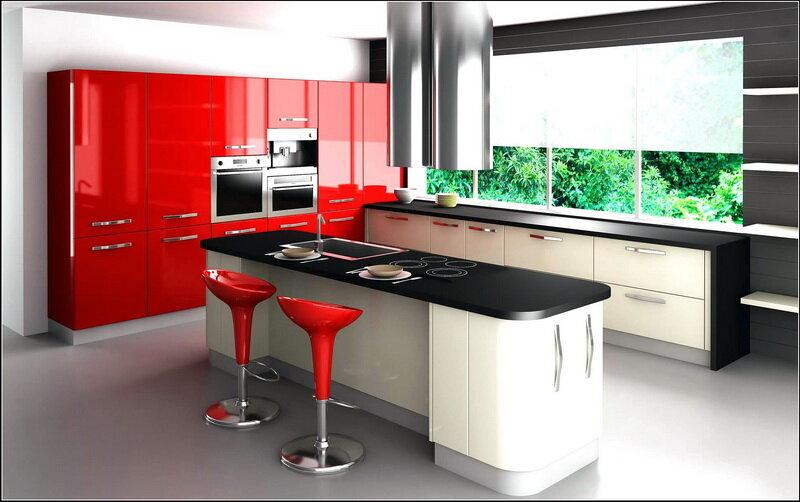 Современная кухня с барными стульями, изготовленныеиз металла, дерева, пластика и других материалов