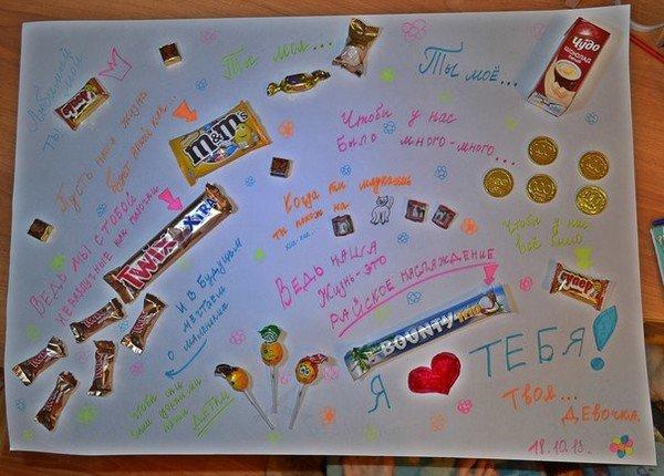 Поздравительная открытка из конфет, для друзей