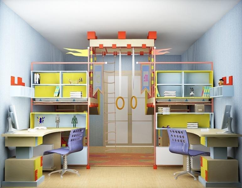 Детская комната с рабочим местом на двоих