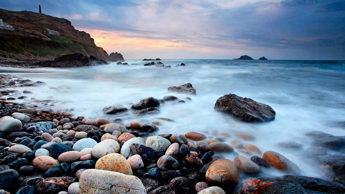 Камни, море, берег, закат, маяк