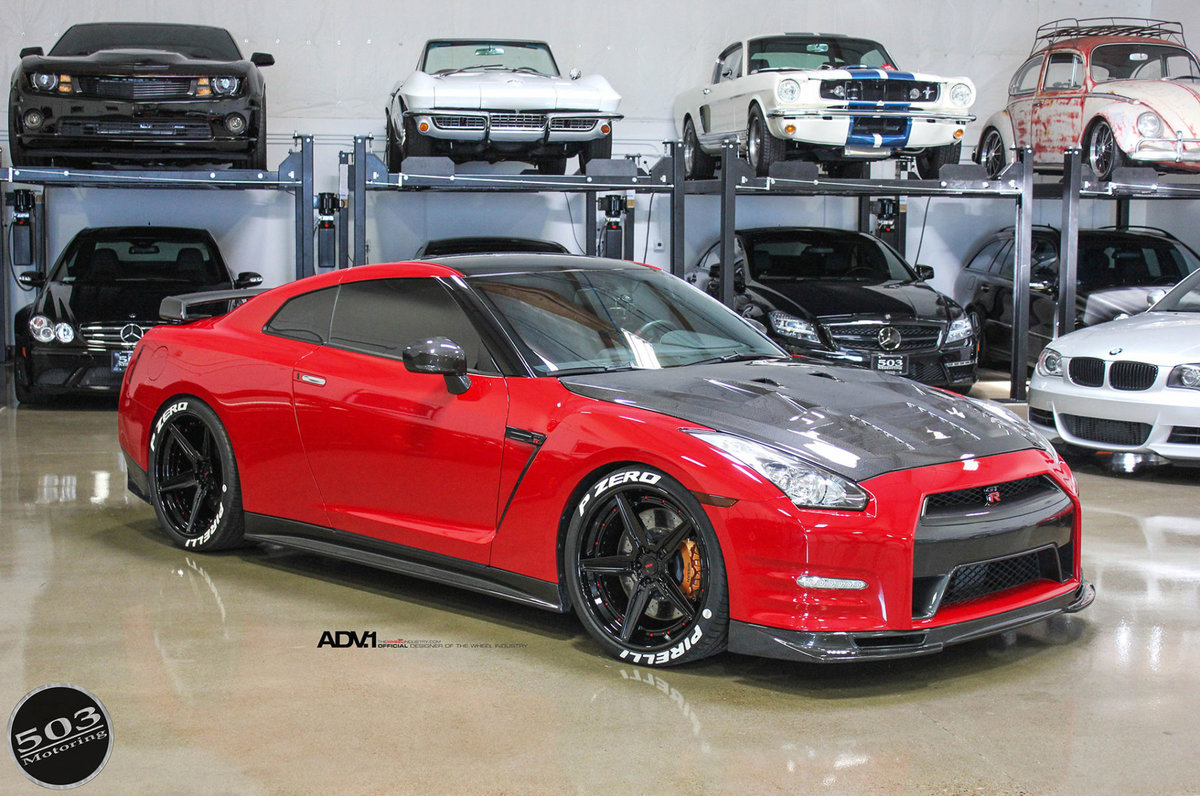 Nissan GT-R Red and Black by 503 Motoring on ADV.1 Wheels (