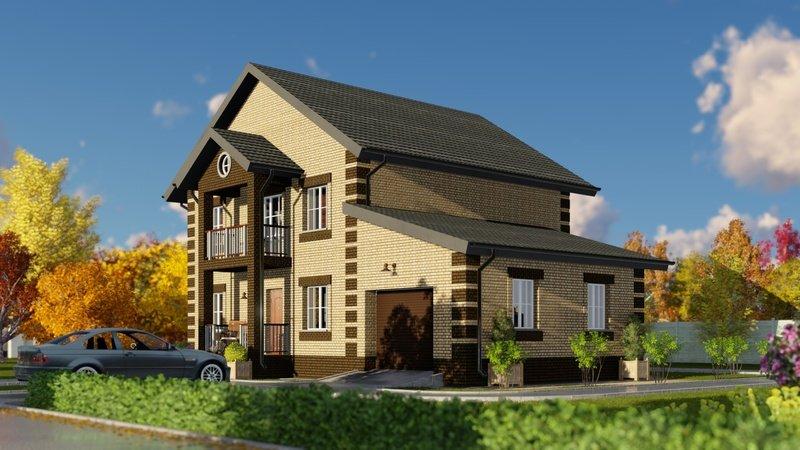 """Проект двухэтажного дома с гаражом и балконом. """" - карточка ."""