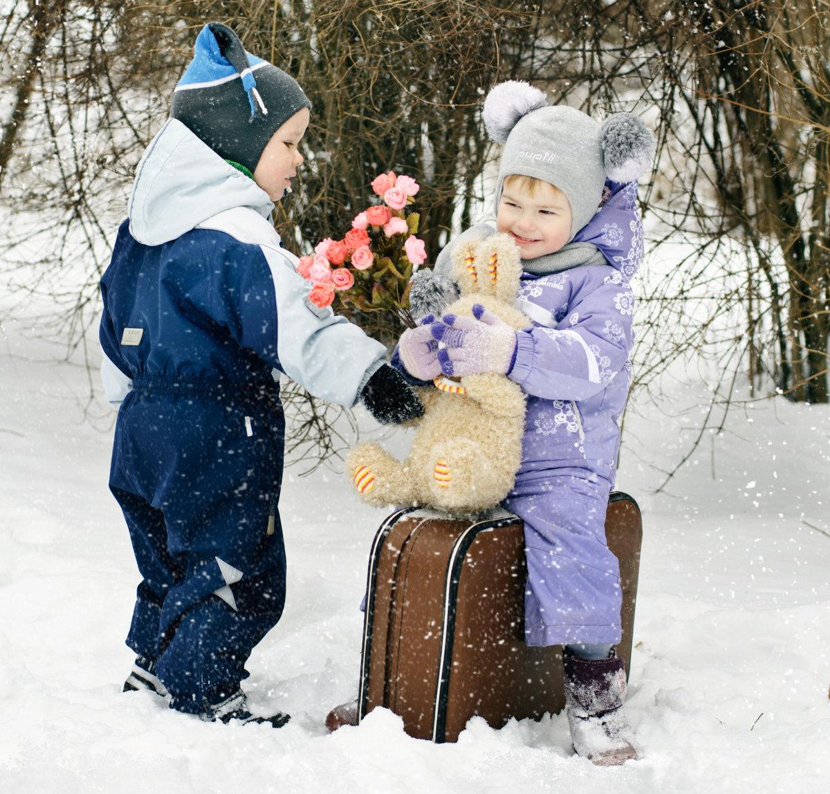 черепахи граненых фотосессия с детьми зимние этом коллеги