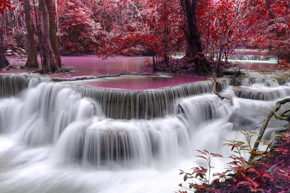 Водопады цветы фотообои