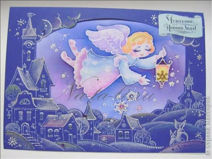 Батик открытка к новому году