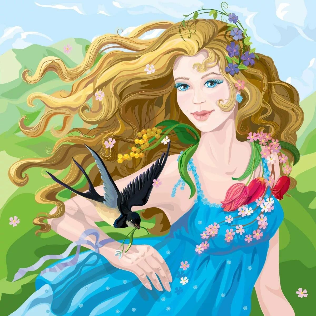 Картинка весны для детей сказочная