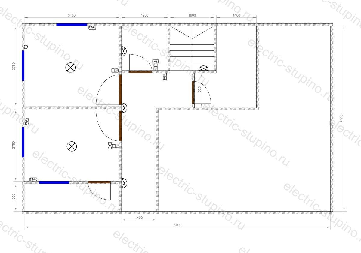 Схема расположения электрооборудования в частном доме 2 этаж
