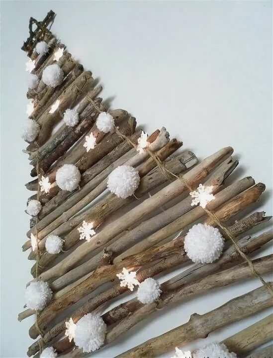 Открытка елка из веточек