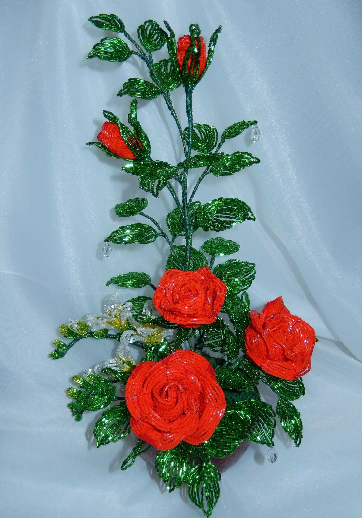 букет роз из бисера в картинках свадебная