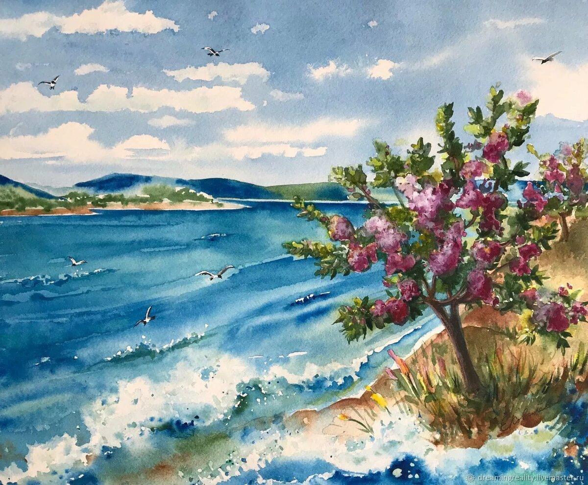 картинки морские пейзажи акварелью выполнено матового