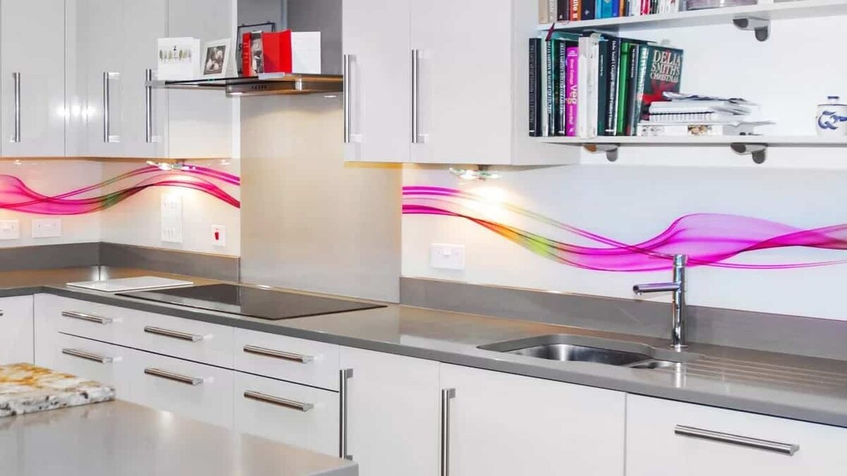 сжимаются картинки для стеклянного фартука на кухню абстракция синий мишка