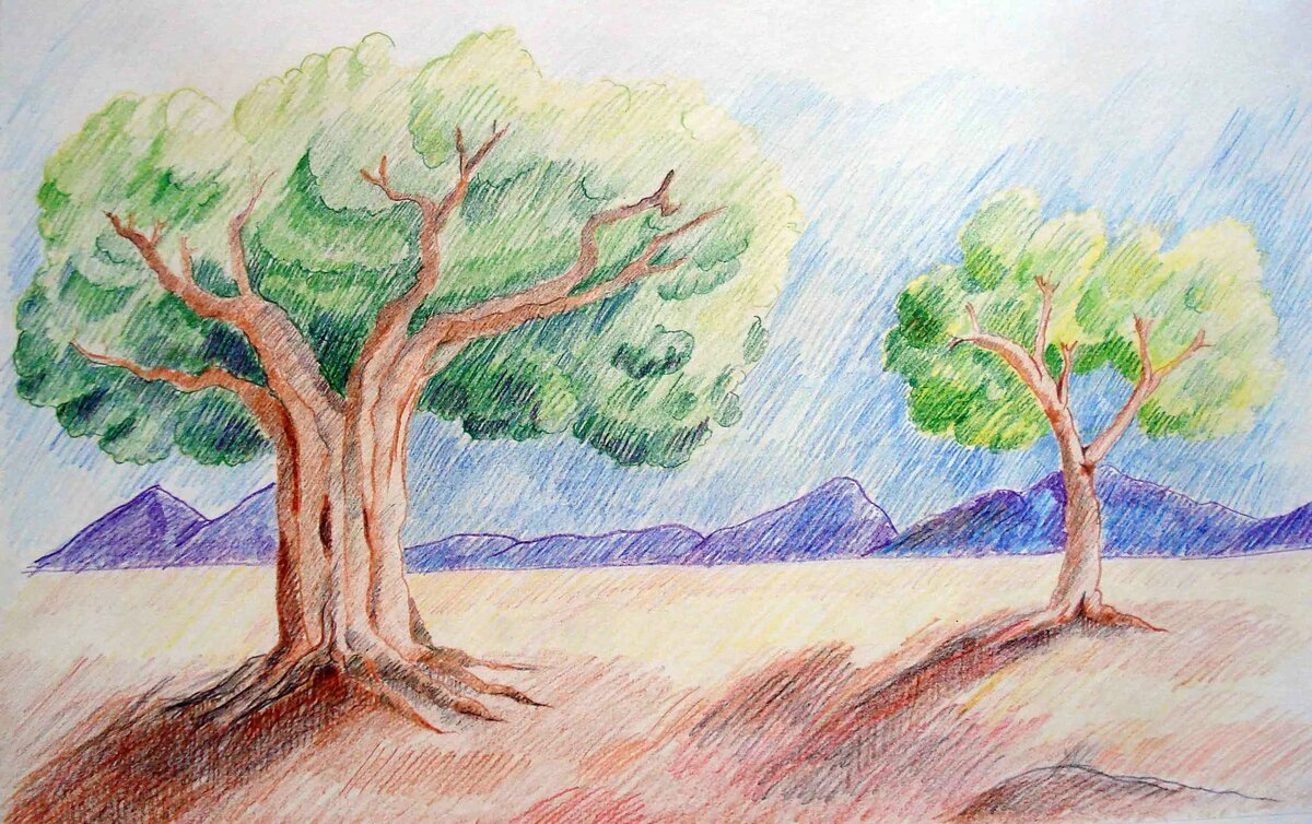 Пейзаж срисовать картинки легкие