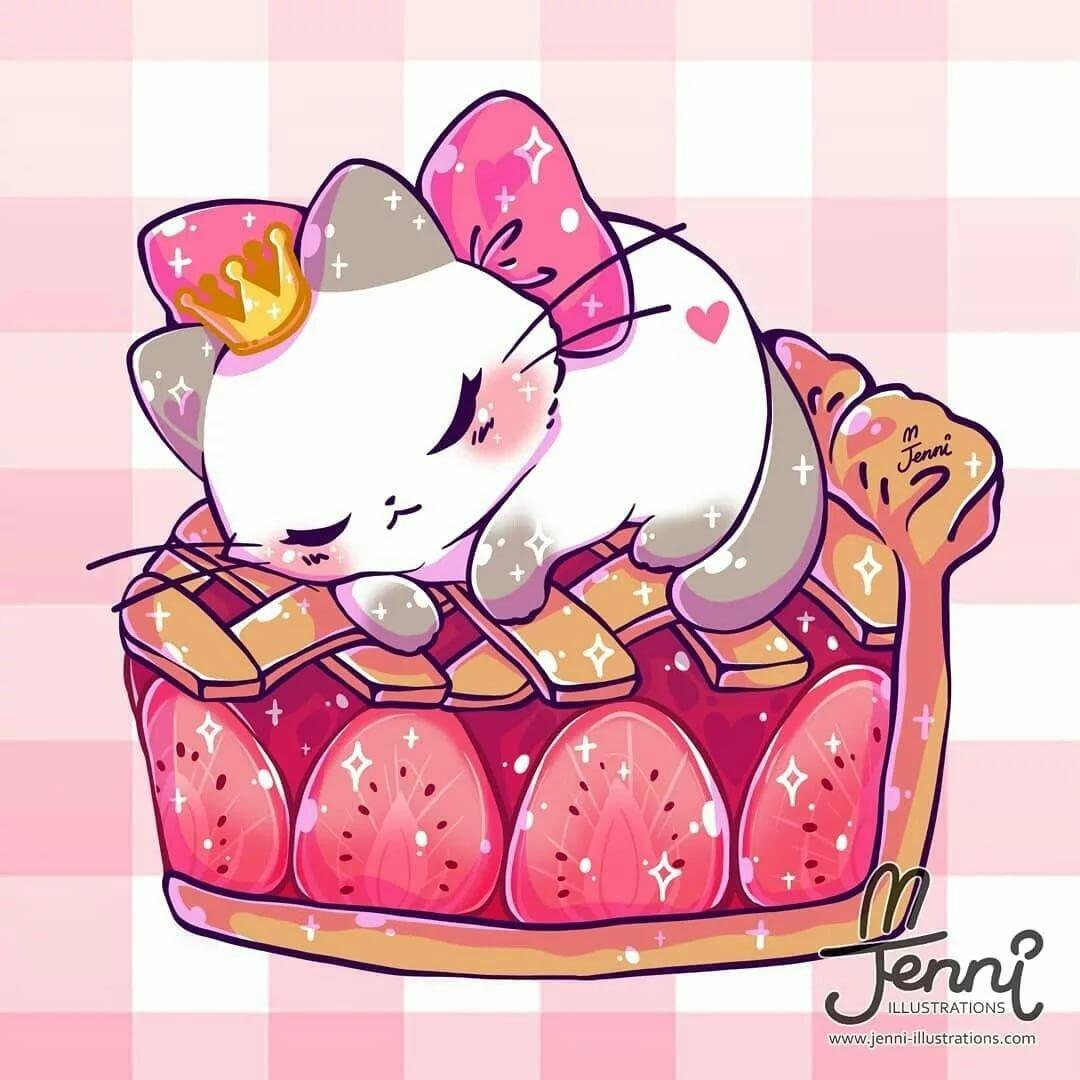 Картинки кавайных котов для срисовки