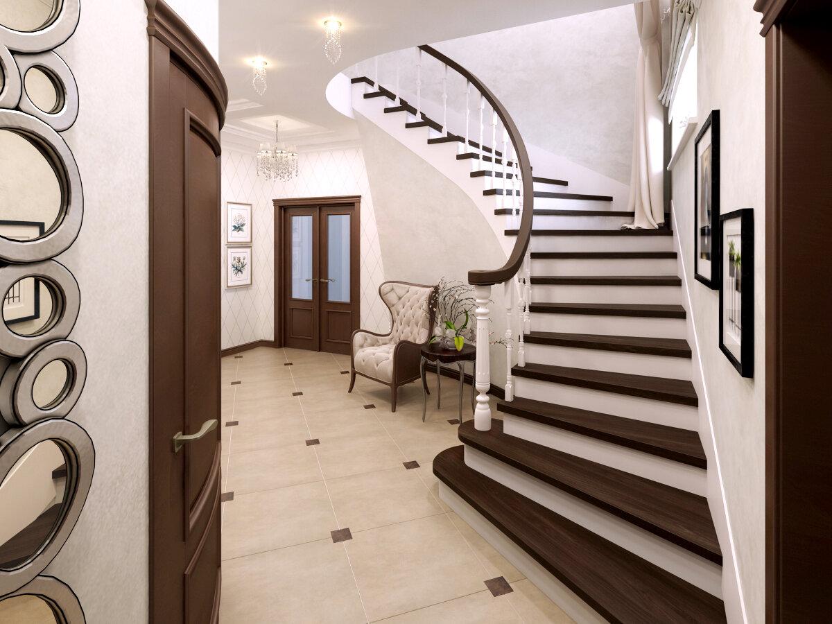 всего дизайн холла с лестницей фото приехал славного