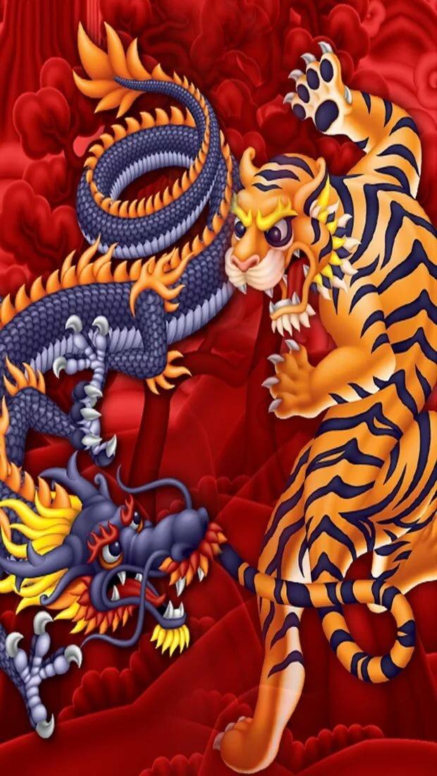 Тигр и дракон картинка обои