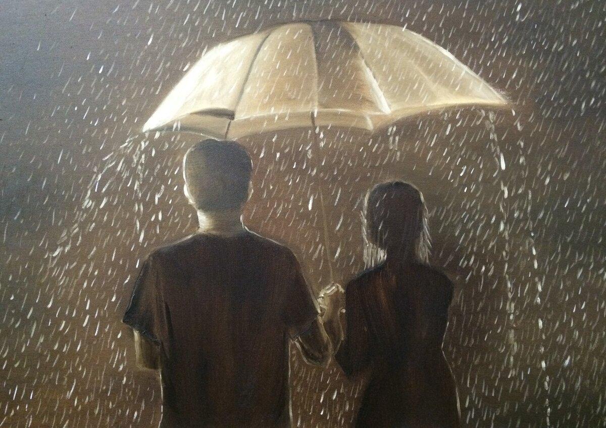 Красивые картинки с дождем с влюбленными