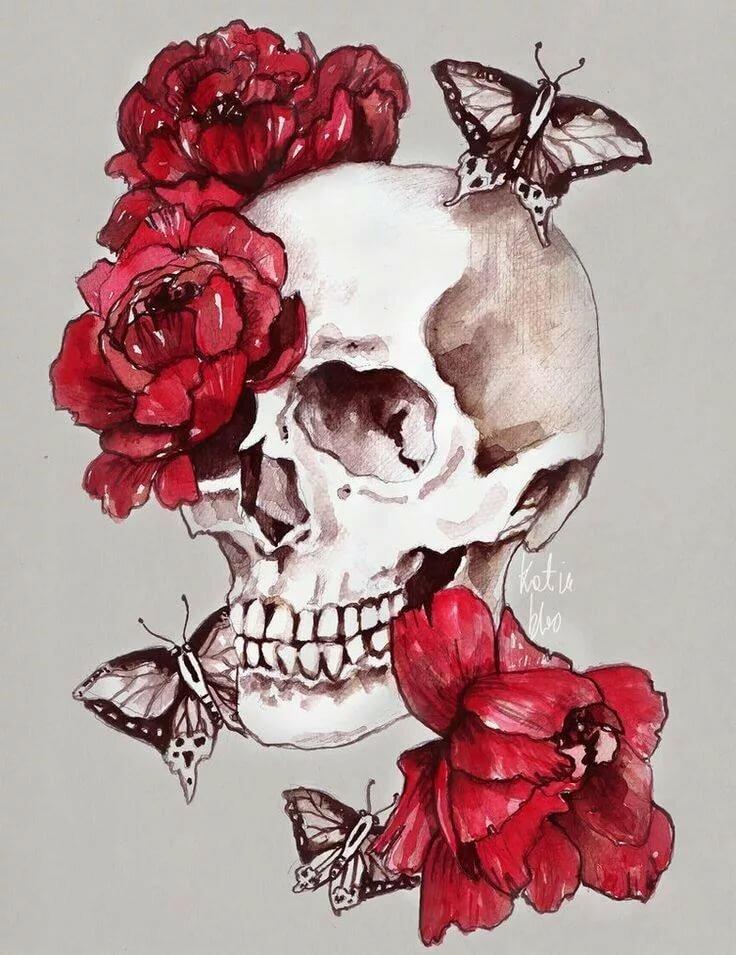 нужно рисунки с черепами и розами новой должности элина